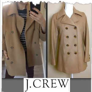 J. Crew Camel Double Breasted Wool Peacoat